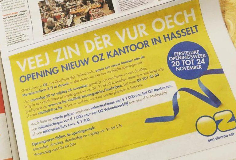 advertentie OZ Hasselt Blops